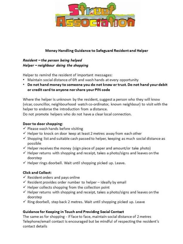 Money handling guidanc SA March 2020